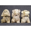The 3 wise monkeys.Statues in natural solid wood H15cm