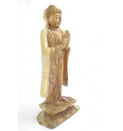 Statue de Bouddha debout geste d'offrande h60cm bois brut sculpté main