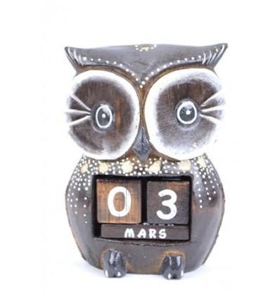 """Perpetual calendar """"owl"""" carved wood"""