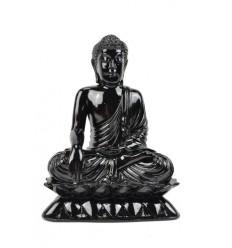 Seduta Statua di Buddha in resina laccato nero lucido H24cm