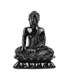 Statue de Bouddha assis en résine laquée noir brillant H24cm