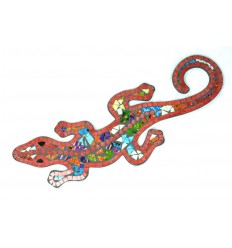Gecko Margouillat Salamandre mural 60cm mosaique de verre rouge multicolore
